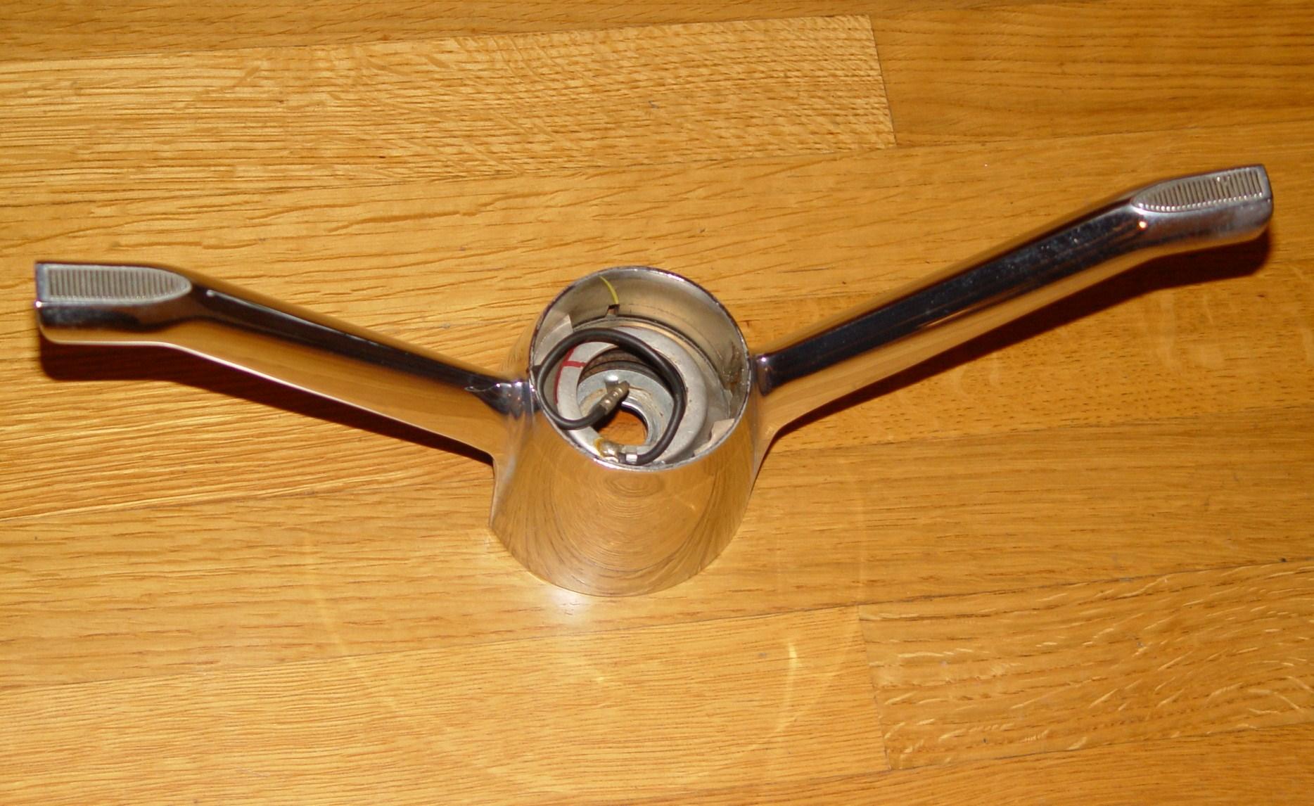 1962 Steering Wheel Center Cross Spoke Chrome Horn Activator