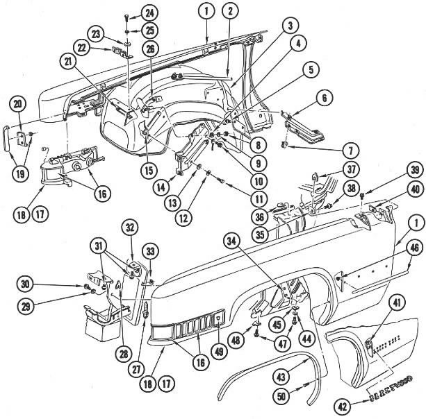 70 cadillac 80 Channel Cable Box illustration of fenders