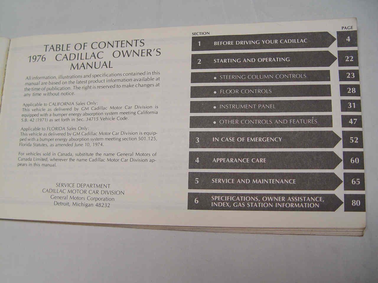 1976 cadillac owners manual and rh cadillacville com 1979 Cadillac 1980 Cadillac
