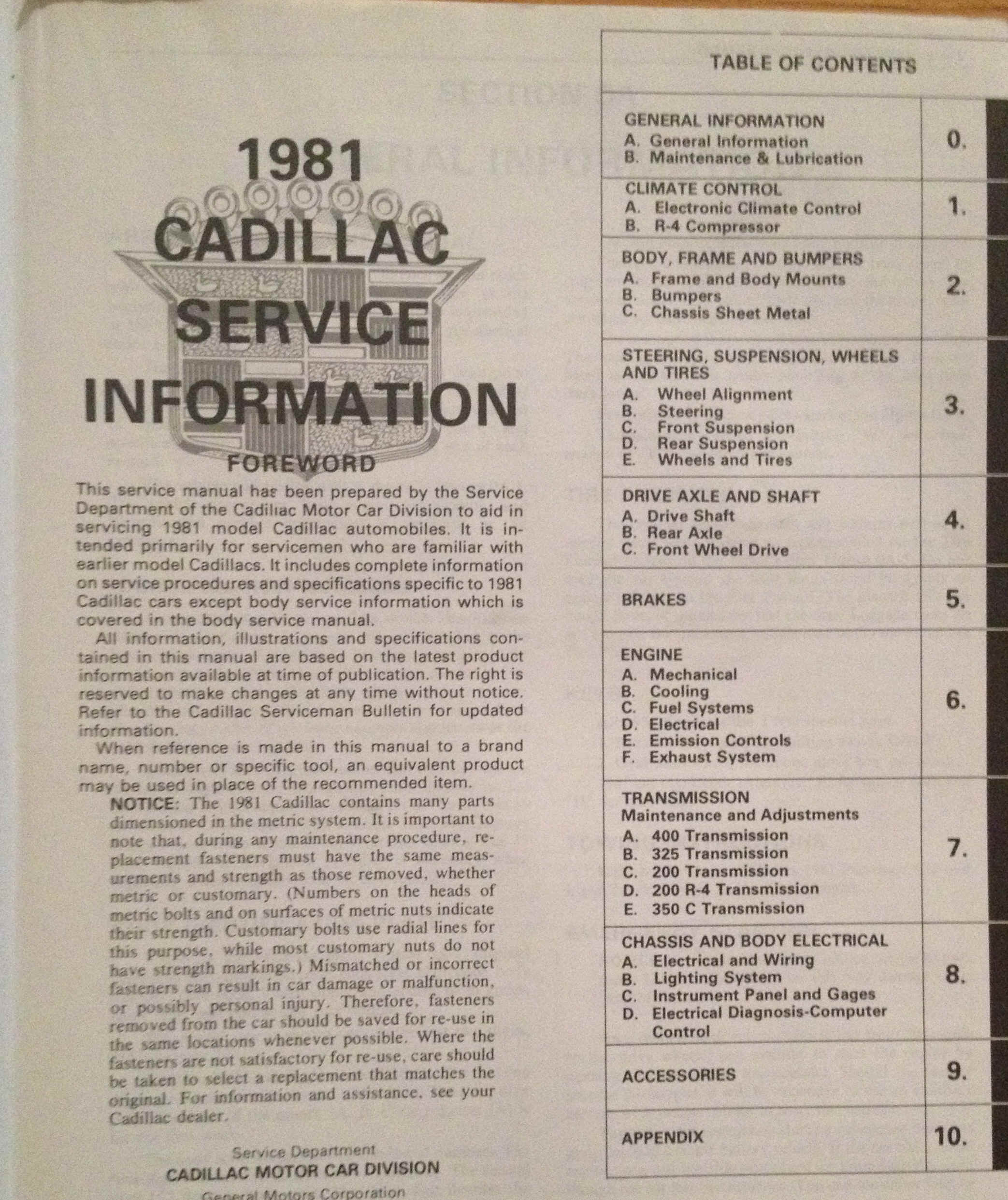 1981 Cadillac Shop And Fisher Body Service Manuals